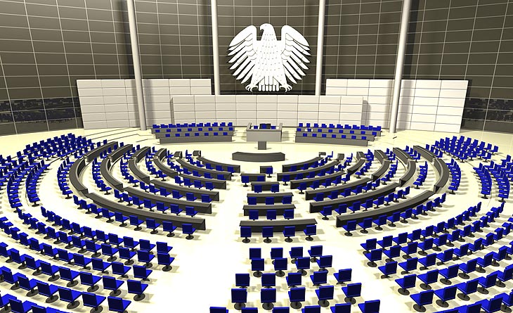 Sitzungssaal im Bundestag