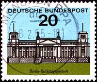 Briefmarke der Deutschen Bundespost von 1964 mit Reichstag